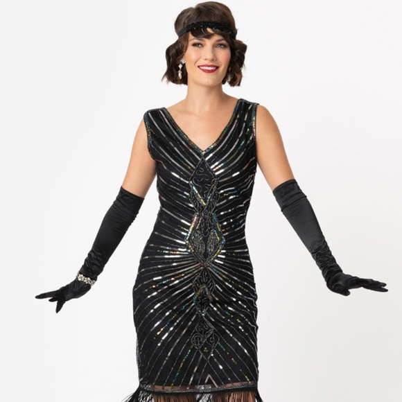 unique vintage Dresses & Skirts - Black and Silver Beaded 1920's Flapper Dress